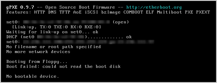 Boot failed: could not read the boot disk
