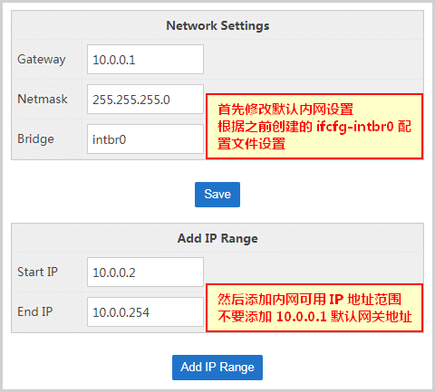 SolusVM Node Add Internal IP Range